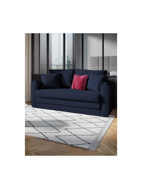 Sofa rozkładana Lido (2-osobowa), Tapicerka: poliester imitujący len D, Nogi: tworzywo sztuczne, Ciemnyniebieski, S 158 x G 69 cm