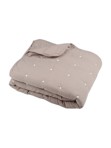 Bedsprei Honorine met geborduurde stippen, 100% polyester, Taupe, B 220 x L 240 cm (voor bedden van 160 x 200)
