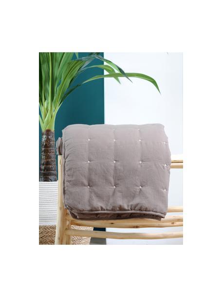 Tagesdecke Honorine mit bestickten Punkten, 100% Polyester, Taupe, B 220 x L 240 cm (für Betten ab 160 x 200)