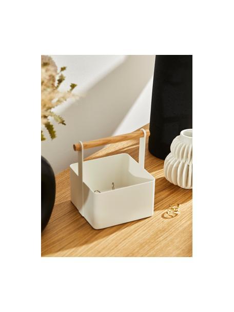 Cesta Tosca, Caja: acero pintado, Asa: madera, Blanco, marrón, An 16 x Al 16 cm