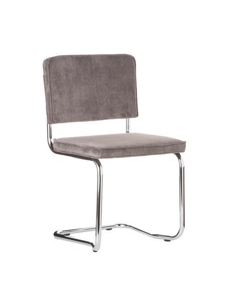 Corduroy-cantilever stoel Kink in grijs, Bekleding: corduroy (88% nylon, 12% , Frame: verchroomd metaal, Poten: kunststof, Grijs, B 48 x D 48 cm