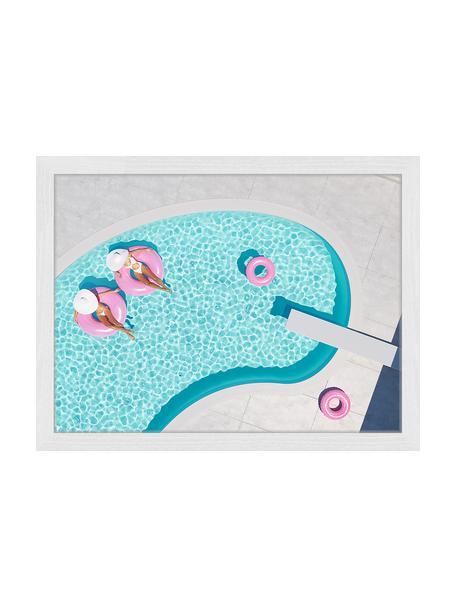 Stampa digitale incorniciata rosa Vacation, Immagine: stampa digitale su carta,, Cornice: legno verniciato, Multicolore, Larg. 53 x Alt. 43 cm
