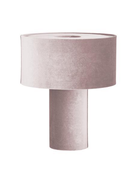 Fluwelen tafellamp Frida, Lampvoet: kunststof met fluwelen be, Lampenkap: fluweel, Diffuser: fluweel, Roze, Ø 30 x H 36 cm