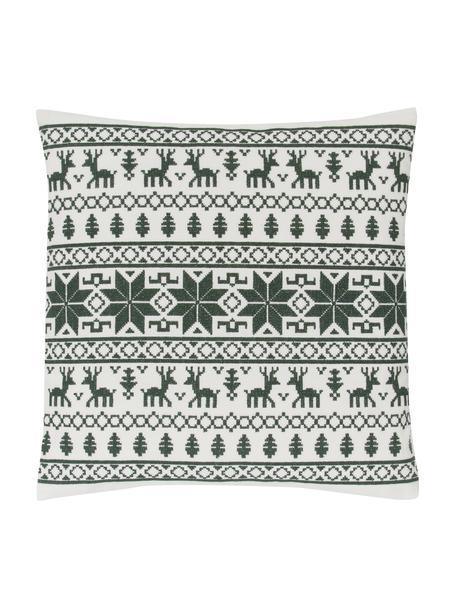 Bestickte Kissenhülle Orkney mit Norweger-Muster, 100% Baumwolle, Grün, 45 x 45 cm