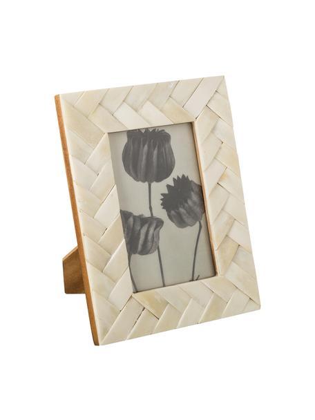 Handgemaakte fotolijst Laura, Lijst: buffelbot, Ivoorkleurig, 10 x 10 cm
