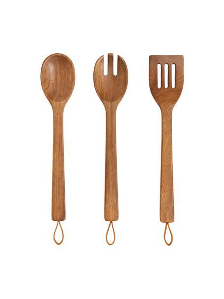 Küchen-Set Woody aus Akazienholz, 3-tlg., Besteck: Akazienholz, Akazienholz, L 35 cm