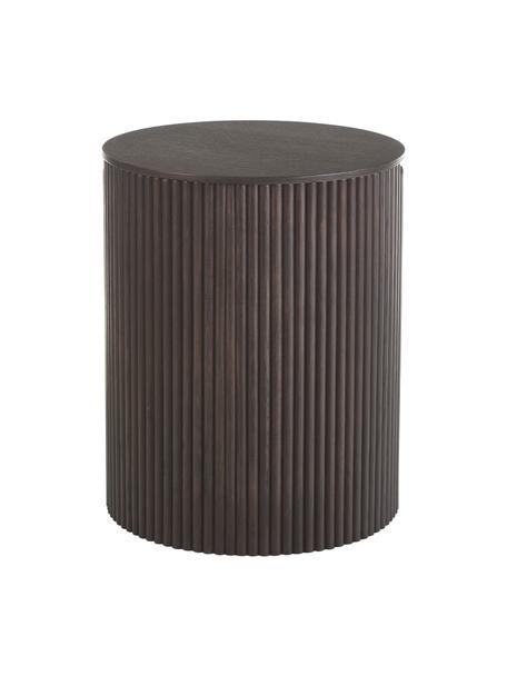 Tavolino contenitore rotondo in legno Nele, Pannello di fibra a media densità (MDF) con finitura in legno di frassino, Marrone scuro, Ø 40 x Alt. 51 cm