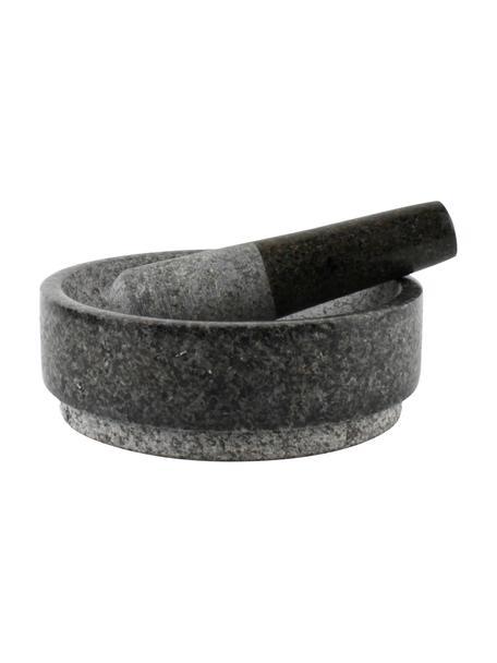 Moździerz i tłuczek z granitu Grido, Granit, Szary, marmurowy, Ø 19 x W 13 cm