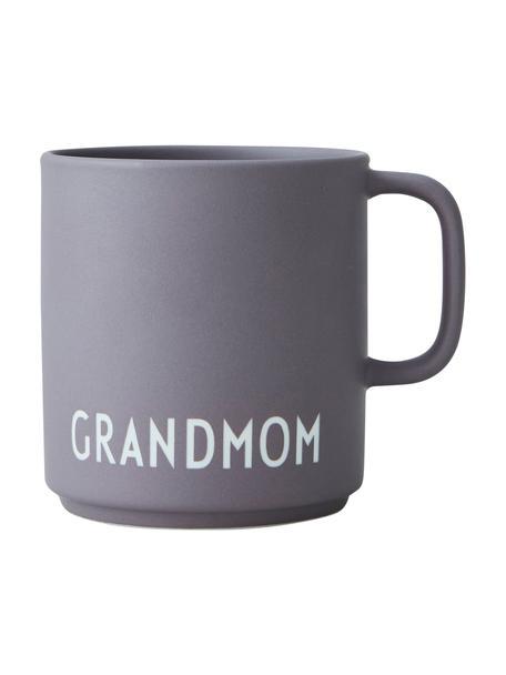 Taza de café de diseño Favourite GRANDMOM/LOVE, Porcelana fina de hueso (porcelana) Fine Bone China es una pasta de porcelana fosfática que se caracteriza por su brillo radiante y translúcido., Morado oscuro mate, blanco, Ø 10 x 9 cm