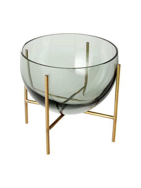 Design schaal Échasse, Frame: geborsteld messing, Vaas: glas, Messingkleurig, grijs, Ø 15 x H 15 cm