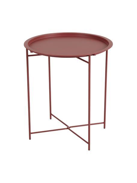 Stolik-taca z metalu Sangro, Metal malowany proszkowo, Czerwony, Ø 46 x W 52 cm