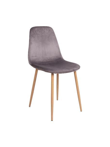Krzesło tapicerowane z aksamitu Stockholm, Tapicerka: aksamit poliestrowy, Nogi: metal powlekany, Szary, jasny brązowy, S 47 x G 50 cm
