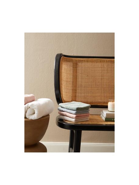 Asciugamano in varie dimensioni con bordo decorativo classico Premium, Verde salvia, Larg. 30 x Lung. 30 cm