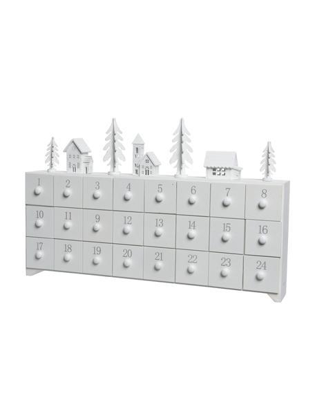 Adventskalender Snow, Gecoat hout, Wit, grijs, 45 x 28 cm