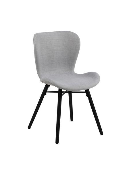 Gestoffeerde stoelen Batilda in lichtgrijs, 2 stuks, Bekleding: 100% polyester, Poten: rubberhout, gecoat, Lichtgrijs, zwart, 47 x 53 cm