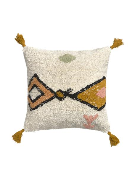 Federa arredo con motivo etnico e nappe Bereber, 100% cotone, Bianco, nero, giallo senape, Larg. 45 x Lung. 45 cm