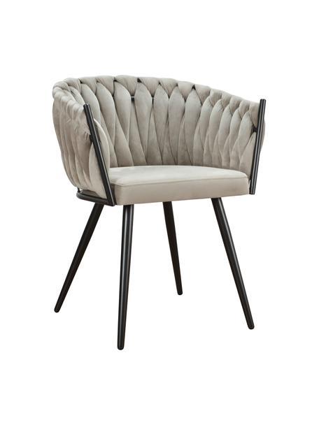 Sedia con braccioli in velluto beige Larissa, Rivestimento: velluto (100% poliestere), Gambe: metallo, Velluto beige Gambe: nero, Larg. 63 x Prof. 55 cm