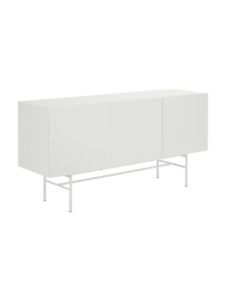 Modern dressoir Anders met 3 deuren in wit, Frame: gelakt MDF, Poten: gepoedercoat metaal, Wit, 160 x 80 cm