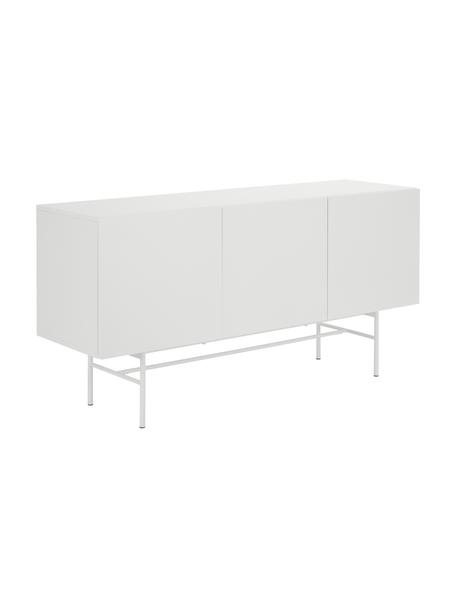 Modern dressoir Anders met deuren in wit, Frame: gelakt MDF, Poten: gepoedercoat metaal, Wit, 160 x 80 cm