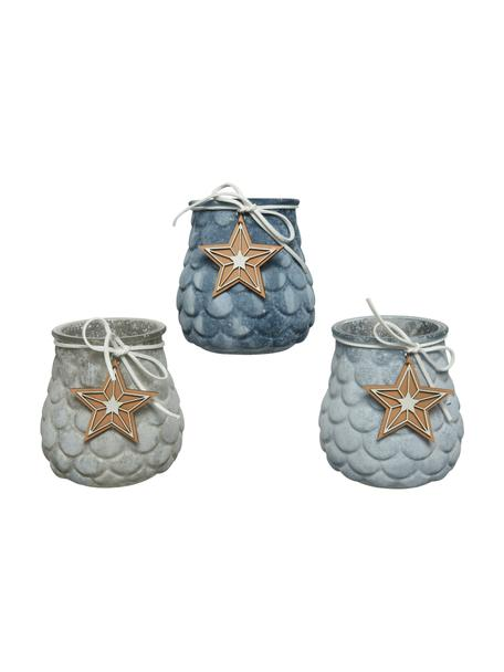 Teelichthalter-Set Rabus, 3-tlg., Glas, Blau, Grau, Ø 10 x H 11 cm
