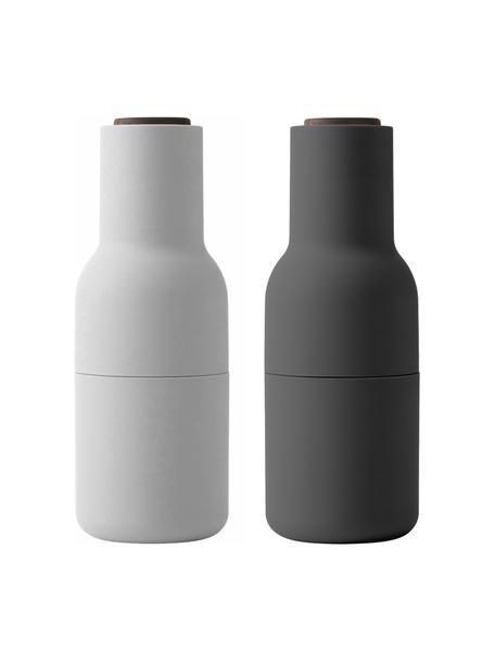 Designer Salz- & Pfeffermühle Bottle Grinder in Anthrazit/Hellgrau mit Walnussholzdeckel, Korpus: Kunststoff, Mahlwerk: Keramik, Deckel: Walnussholz, Anthrazit, Weiss, Ø 8 x H 21 cm