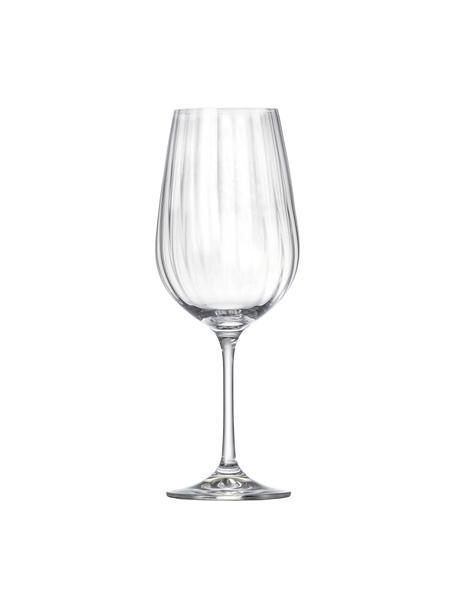 Kristallen rode wijnglazen Romance met groefreliëf, 6 stuks, Kristalglas, Transparant, Ø 9 x H 25 cm