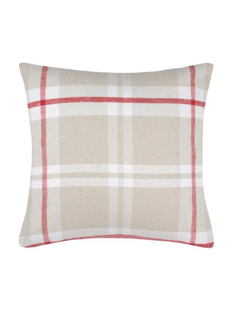 Karierte Kissenhülle Granier, 95% Polyester, 5% Wolle, Beige, Weiß, Rot, 40 x 40 cm