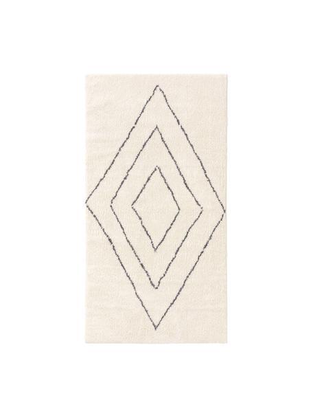 Dywan z wysokim stosem Benno, 100% poliester, Kremowy, ciemnoszary, S 80 x D 150 cm