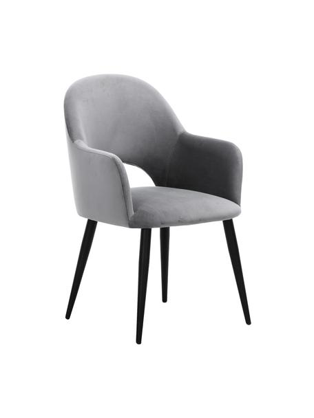 Krzesło z podłokietnikami z aksamitu Rachel, Tapicerka: aksamit (poliester) Dzięk, Nogi: metal malowany proszkowo, Aksamitny stalowoszary Nogi czarny, S 64 x G 47 cm