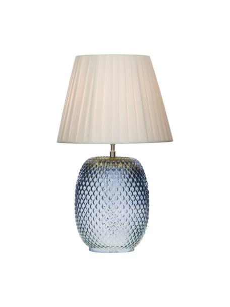 Lampada da tavolo in vetro Cornelia, Paralume: poliestere, Base della lampada: vetro, Blu, bianco, Ø 25 x Alt. 42 cm