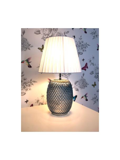 Lámpara de mesa de vidrio Cornelia, Pantalla: poliéster, Cable: plástico, Azul, blanco, Ø 25 x Al 42 cm
