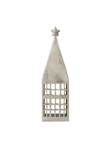 Lantaarn Serafina House, Polyresin, Lichtgrijs, zilverkleurig, 10 x 33 cm