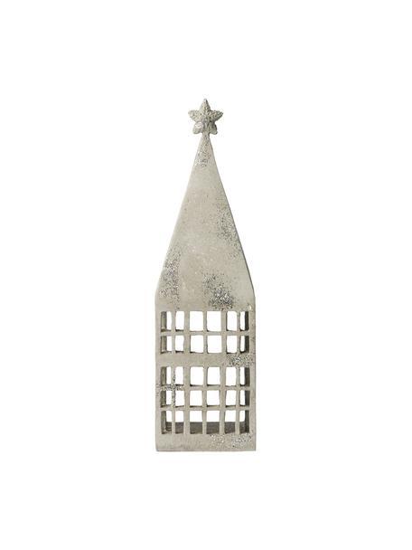 Ręcznie wykonana latarenka Serafina House, Poliresing, Jasny szary, odcienie srebrnego, S 10 x W 33 cm