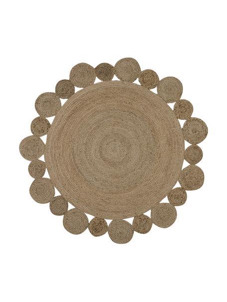 Alfombra redonda artesanal de yute Niago, estilo boho, 100%yute, Beige, Ø 150 cm (Tamaño M)