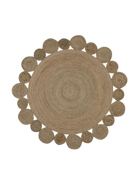 Tappeto boho rotondo in juta fatto a mano Niago, 100% juta, Beige, Ø 150 cm (taglia M)