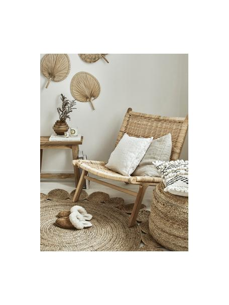 Rond juten vloerkleed Niago in boho stijl, handgemaakt, 100% jute, Beige, Ø 150 cm (maat M)