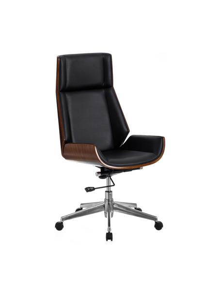 Krzesło biurowe Dingo, obrotowe, Tapicerka: sztuczna skóra (poliureta, Stelaż: płyta wiórowa, Nogi: metal, Czarny, brązowy, S 66 x G 65 cm