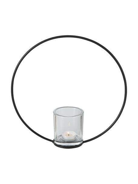 Portavelas Rumba, Estructura: metal recubierto, Portavelas: vidrio, Negro, Ø 30 x F 8 cm
