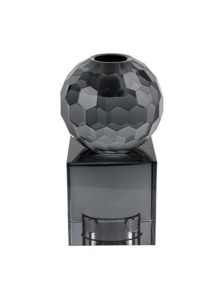 Candelabro Crystal, Vetro, Grigio, Larg. 6 x Alt. 13 cm