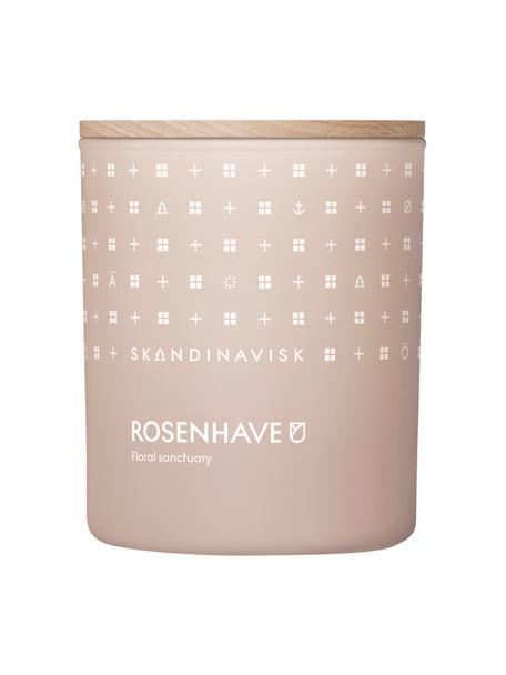 Geurkaars Rosenhave (rozen, vlierbloesem, geranium), Houder: glas, Deksel: berkenhout, Doos: karton, Roze, 8 x 10 cm