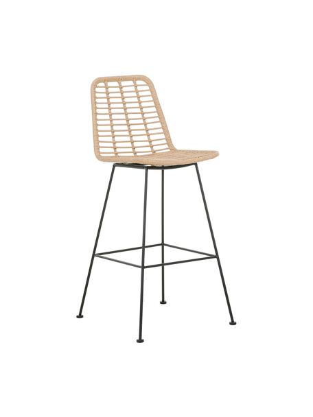 Polyrattan-Barstuhl Costa mit Metall-Beinen, Sitzfläche: Polyethylen-Geflecht, Gestell: Metall, pulverbeschichtet, Hellbraun, Schwarz, 56 x 110 cm