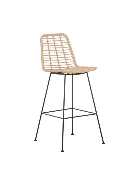 Polyrotan-barkruk Costa met metalen poten, Zitvlak: polyethyleen-vlechtwerk, Frame: gepoedercoat metaal, Lichtbruin, zwart, 56 x 110 cm