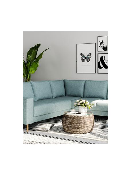 Sofa narożna Fynn, Tapicerka: 100% poliester z uczuciem, Stelaż: drewno liściaste, drewno , Nogi: drewno lakierowane Dzięki, Jasny niebieski, S 234 x G 234 cm