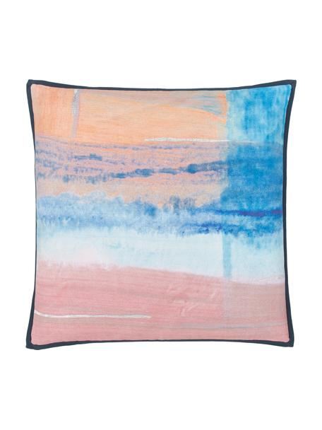 Kissenhülle Colori im Aquarell-Look in Pastelltönen mit Fransen, Bezug: 100% Baumwolle, Mehrfarbig, 50 x 50 cm