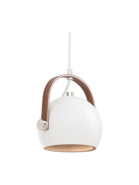 Kleine hanglamp Bow met leren decoratie, Wit, 19 x 20 cm
