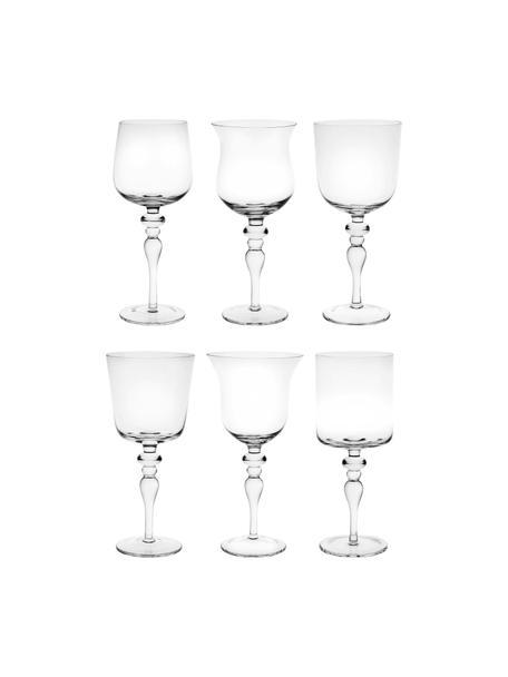 Mondgeblazen wijnglazen Diseguale in verschillende vormen, 6 stuks , Mondgeblazen glas, Transparant, Ø 8 x H 20 cm