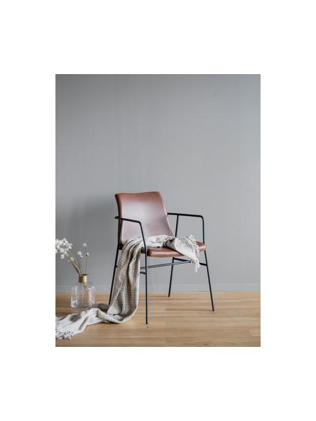 Krzesło z podłokietnikami ze sztucznej skóry Huntington, 2 szt., Tapicerka: sztuczna skóra, Stelaż: drewno warstwowe, Nogi: metal powlekany, Brązowy, czarny, S 54 x G 58 cm