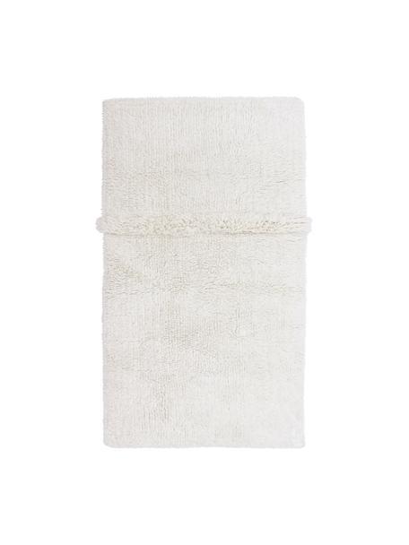 Tappeto in lana bianca lavabile fatto a mano Tundra, Retro: cotone riciclato Nel caso, Bianco, Larg. 80 x Lung. 140 cm (taglia XS)