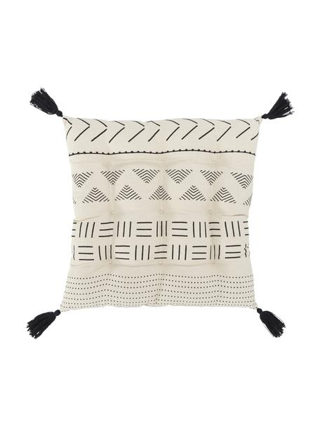 Boho Sitzkissen Hana mit Quasten, Bezug: 100% Baumwolle, Schwarz, 40 x 40 cm
