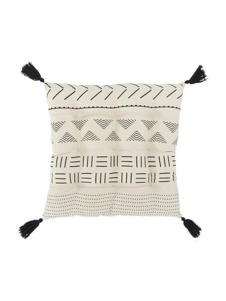 Cojín de asiento con borlas Hana, estilo boho, Funda: 100%algodón, Negro, An 40 x L 40 cm